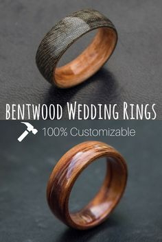 Mens bentwood wedding bands. These wood rings are 100% customizable. You can even send us wood to use for your ring. The most unique bentwood wedding rings!