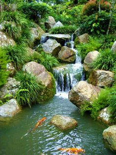 Waterfall Landscape Design Ideas waterfall landscaping ideas with natural landscape design with stone waterfall with big stone on the border Yard Ideas Pond Waterfall Stones Seem A Little Too Big For An Average Homeowner To Achieve
