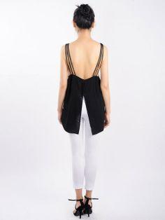 Black Chiffon Cami… The back is SO cute
