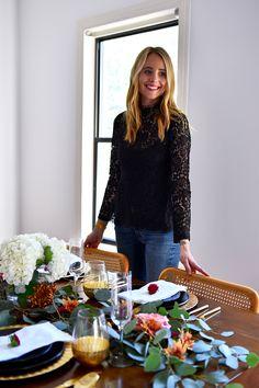 Thanksgiving Tablescape Ideas, Modern Thanksgiving Setting, Black & Gold Dinner Setting, Eucalyptus, Fall Flowers, Black Lace Top
