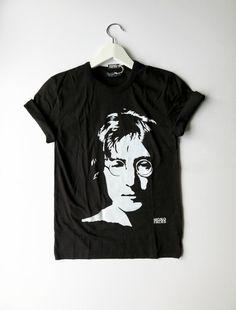 John Lennon Official People for Peace Mens Black Short Sleeve T-Shirt Beatles