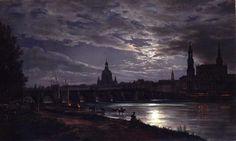 Blick auf Dresden bei Vollmondschein - Johan C. Dahl - 1839