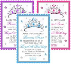 Princess Birthday Invitations Tiara by LittlebeaneBoutique on Etsy, $1.59