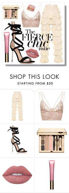 """Kiss Me Pink"" by marquaysab ❤ liked on Polyvore featuring Balmain, Jonathan Simkhai, Gianvito Rossi, Lime Crime, Clarins, Adolfo Courrier, balmain, ruffles and RuffledPants"