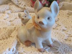 Mom and Baby Porcelain Pig Bisque Porcelain Pig by LasLovelies