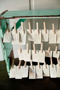 name cards at a vintage rustic wedding
