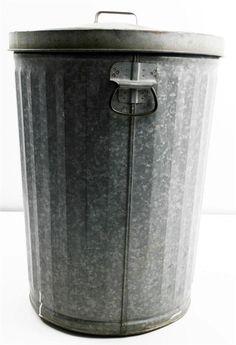 Vtg Trash Can Galvanized W Lid Metal Garbage Waste Bin Steampunk Loft