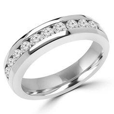 Diamond Semi Eternity Wedding Anniversary Band Ring in 14K White Gold #weddingband #anniversary #classic
