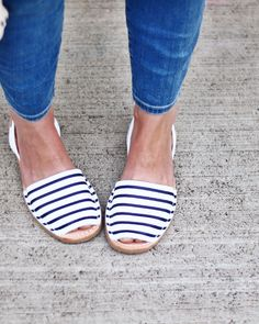 Oh My Dear Blog in our Original avarcas menorquinas handmade in Spain in blue stripes by The Avarca Store