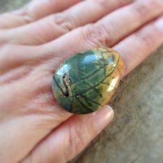 Green Jasper Ring Cocktail Ring Big Ring Large by TesoroDelSol