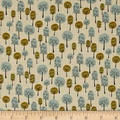 Roundabout Blue Green Trees Taupe 3 from @fabricdotcom  Designed for Blank Quilting, this cotton print fabric is perfect for quilting, apparel and home decor accents. Colors include blue, green and tan.