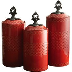 3-Piece Rayna Canister Set in Red (Set of 3) at Joss and Main