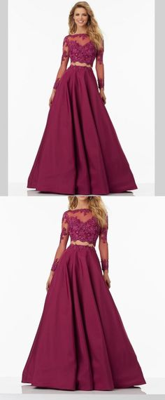 Modest Prom Dress,Lace Prom Dress,Long Sleeves Prom Dresses,Lace Prom Dress,Burgundy Prom Dress #2piecespromdress #2piece #2pieces #twopieces #promdress #promdresses #hiprom #prom #GraduationDress #2018 #PartyDress #burgundyprom