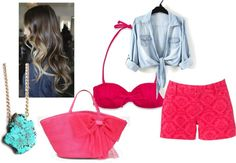 """""""beachy pink"""" by brisalas ❤ liked on Polyvore"""