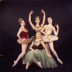 """New York City Ballet - Studio photo of (L-R) Patricia McBride, Violette Verdy (front), Mimi Paul and Suzanne Farrell in """"Jewels"""", choreography by George Balanchine (New York)"""