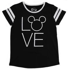 Disney Women's Mickey Mouse Love Tee Black ($11) ❤ liked on Polyvore featuring tops, t-shirts, print t shirts, disney tees, pattern tees, disney t shirts and cotton t shirts