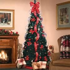 pull up redgold pre decorated tree decorated just pull up and enjoy tall x diameter slim indoor artificial tree 250 clear lights 4 rows of wired edged - Pull Up Christmas Tree
