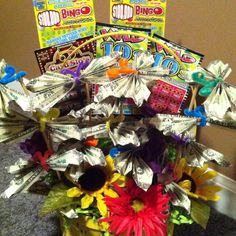 Butterfly Raffle Basket with cash and lottery tickets