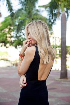 Blunt long cut blonde