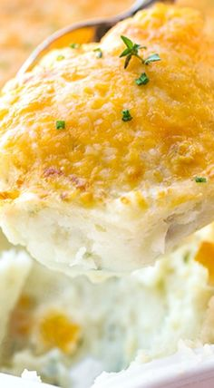 Roasted Garlic Mashed Potatoes with Broiled Cheddar