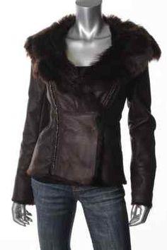 Elie Tahari New Ruby Brown Lamb Fur Leather Asymmetric Snap Front Jacket s BHFO   eBay