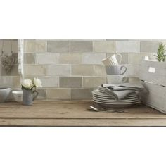 Craquele White Wall Tile from Tile Mountain only per tile or per sqm. Order a free cut sample, dispatched today - receive your tiles tomorrow Kitchen Wall Tiles, Room Tiles, Bathroom Wall, White Wall Tiles, White Walls, Cream And White Kitchen, Cream Bathroom, Splashback Tiles, Kitchen Utilities