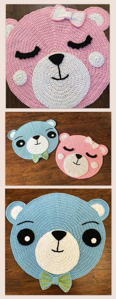 Crochet Rug PATTERN  Crochet Bear Nursery Rug -  Nursery Decor by Deborah O'Leary Patterns