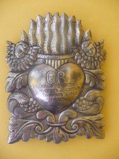ANTIQUE, SUPERB BIG EX VOTO, THE SACRED HEART MILAGRO RARE 1882 | eBay