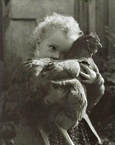 Nell Dorr (1895-1988) - Bethany Holding Chicken, 1942-1943. >> Have you hugged your chicken today?