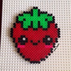 Kawaii strawberry hama beads by little_kokiri