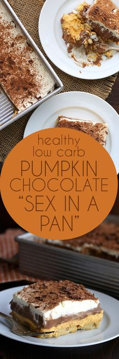 """Rock your world with this low carb """"sex in a pan"""". This keto layered pumpkin chocolate dessert is absolutely divine! via @dreamaboutfood"""