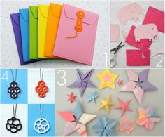 DIY paper crafting projects -- paper envelopes, elephants, galaxy of origami stars, cut-out pendants.
