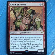 Today's #magicthegathering card!  I love this card! So funny!  #mtg #mtgers #mtgaddicts #mtgcommunity #magic #goblin #piledriver #rare #foil #card #cards #cardgame #game #gamer #fantasy #wizardsofthecoast #ccg #tcg