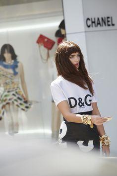 Dolce & Gabanna Classic Tee & Moschino Name Game Leather Skirt  #nastygalvintage