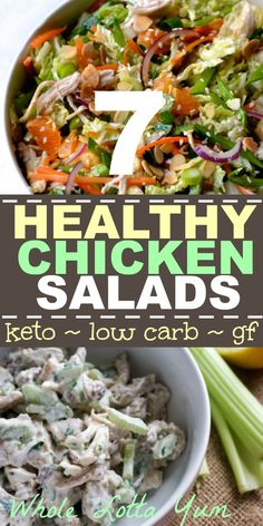 10 Amazing Low Carb Keto Chicken Salad Recipes 7 healthy chicken salad recipes that are also keto salads, low carb, gluten free and sugar free! Keto salad recipes with whole ingredients make great healthy meal prep lunches. Low Carb Chicken Salad, Salad Recipes Low Carb, Chicken Salad Recipes, Keto Recipes, Healthy Chicken, Ketogenic Recipes, Chicken Salads, Healthy Food Blogs, Super Healthy Recipes
