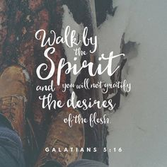 """""""This I say then, Walk in the Spirit, and ye shall not fulfil the lust of the flesh."""" Galatians 5:16 KJV http://bible.com/1/gal.5.16.kjv"""