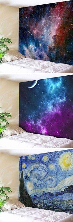 wall decor ideas:Wall Art Hanging Galaxy Print Tapestry