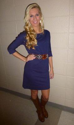 Love the blue dress and cute belt