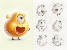 Fat Cells (gif) by Ilvira Nasreddinova on Dribbble Game Character Design, Character Design Animation, 3d Character, Character Concept, Concept Art, Monster Illustration, Cute Illustration, Character Illustration, Art Illustrations
