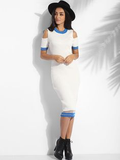 Crew Neck Knit Color Block Hollow Out Striped Bodycon-dress #BodyconDresses, #Dresses, #Fashion, #Womens