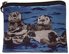 Sea Otter Vegan Change Purse, Coin Purse - Animals - From My Original Paintings - Support Wildlife Conservation, Read How (Sea Otters - Best Friends). Double Sided Print ● Microfiber ● lined● zip top closer. american artist, american art,. change purse, coin purse, wallet. original artwork. hand wash.