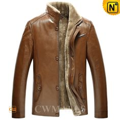 CWMALLS Mens Brown Sheepskin Shearling Jacket CW870133 Warm sheepskin shearling lined jacket for men, finished with supple sheepskin with cozy shearling lining, stand up collar, zip closure with buttons, convenient side pockets, this brown shearling will meet your needs for warmth and stylishness.  www.cwmalls.com PayPal Available (Price: $1357.89) Email:sales@cwmalls.com