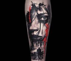 Girl Face tattoo by Myskow Slawomir