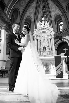 A groom gazes at his bride in front of the alter at gorgeous St Aloysius Church on the Gonzaga campus. Wedding Photography Spokane WA Kelcey Boyce Photography wedding, wedding photos, wedding photography, photography, wedding inspiration, bride, groom, couple, marriage, love, Gonzaga, St Aloysius Church