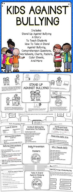 Bully Prevention Classroom Activities - Teach your children and students all about bullying and how to take a stand against a bully with these bully prevention activities.