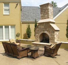 Outdoor Fireplaces & Fire Pits: EW Gold Snapped Dimensional with Aux Vases Buff Cut Ston  www.earthworksstone.net