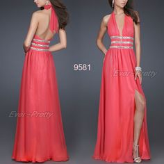 Plunge V-neck Pink Open Back Halter Sequins Padded Formal Dress 09581 AU Size 8