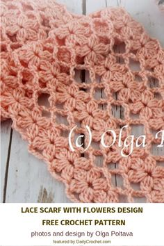 Lacy And Light Flower Scarf Crochet Pattern - Knit And Crochet Daily - - This beautiful flower scarf crochet pattern uses the Mile-a-Minute crochet technique to create a pretty stunning piece that you can wear all year round. Crochet Flower Scarf, Crochet Flower Patterns, Lace Scarf, Crochet Stitches Patterns, Crochet Scarves, Crochet Shawl, Crochet Flowers, Knitting Patterns, Knit Crochet