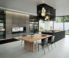 diseño de cocina moderna en negro y madera