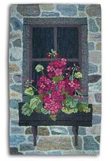 Hooked By Janet Santaniello .just beautiful field stone work & gorgeous geraniums!